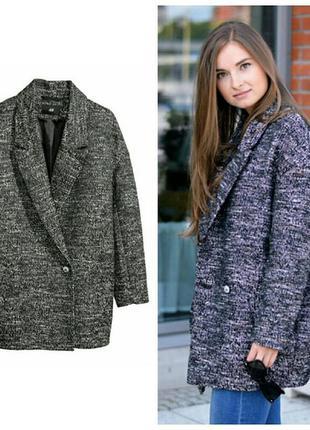 Шерстяной жакет(пиджак) на подкладке,пальто-бойфренд с накладными карманами, h&m