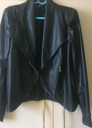 Кожанка кожаная куртка косуха из эко кожи черная
