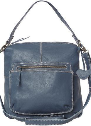 Удобная функциональная кожаная сумка, натуральная кожа,серо-синяя бренд white stuff