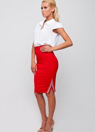 Красная юбка карандаш в украинском стиле, s, nenka