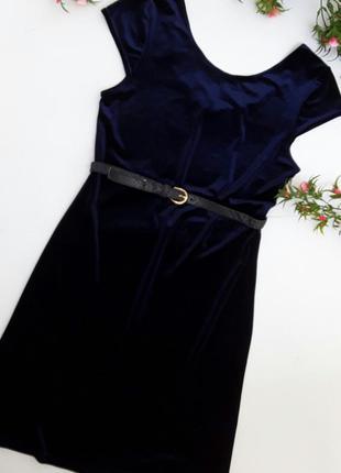Бархатное синее платье с пояском