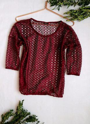 Блуза от only кофточка кружево цвет бордо масрсала винный бургунди сетка
