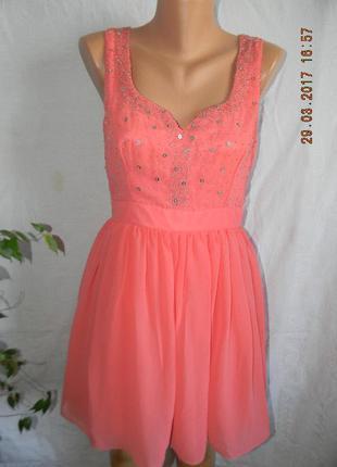 Нежное нарядное коралловое платье little mistress