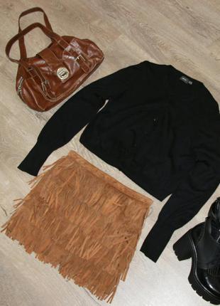 Супер юбка zara с бахромой из натуральной замши