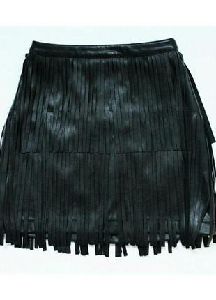 Шкіряна нова спідниця h&m з бахромою / кожаная юбка