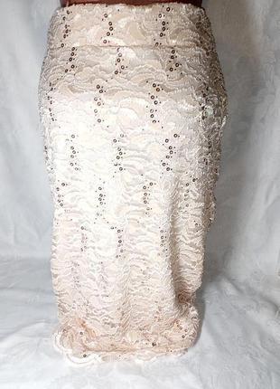 Юбка-карандаш / юбка с паетками/ юбка с высокой талией/ ажурная нарядная юбка/ на подкладке