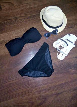 Купальник черный бандо бикини бренд  без пушапа чашечка с паралоном