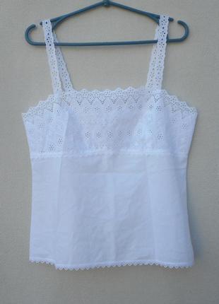Летняя хлопковая  легкая блузка  с вышивкой