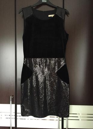 Очень нарядное платье monica ricci бархат с пайетками, размер us6