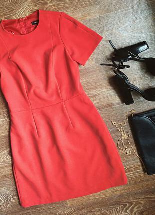 Стильное классическое платье от new look размер м(10) красного цвета