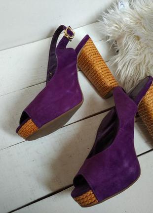 Замшевые фиолетовые босоножки,натуральная кожа
