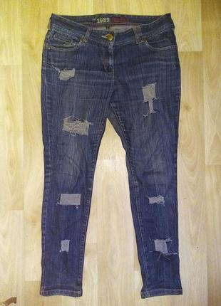 Рваные джинсы, р.29-31, узкие джинсы, скинни