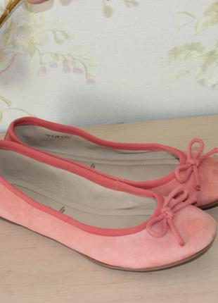 38 24см janet d. замшевые балетки розовые