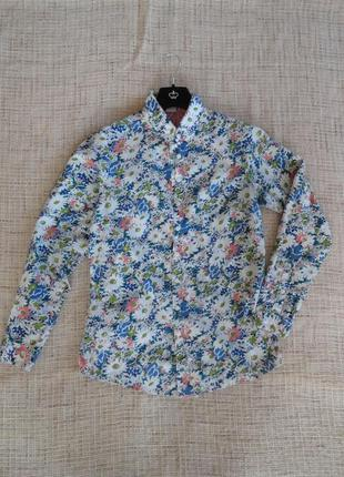 Яркая / стильная рубашка в цветочную расцветку / cotton traders / размер м