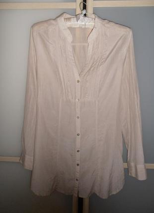 Удлиненная пудровая блуза рубашка