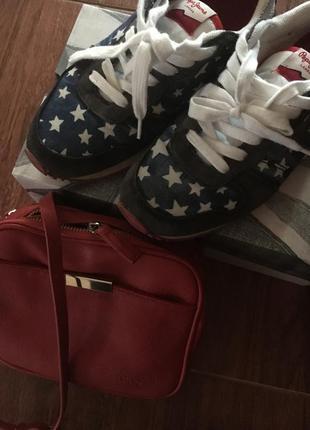 Кроссовки pepe jeans,37 р. и к ним сумочка pepe jeans