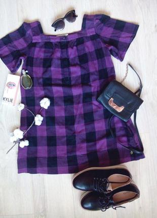 Платье фиолетовое в клетку