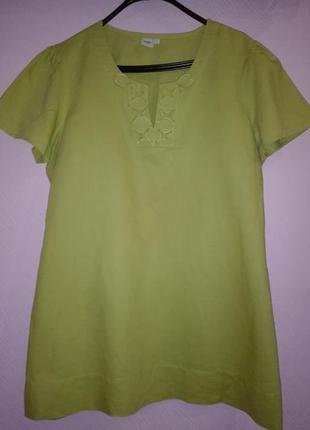 Очень красивая салатовая льяная блуза,большого размера,18