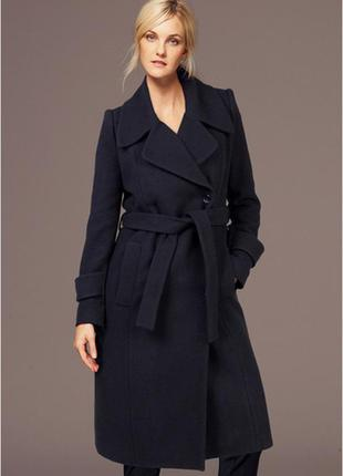 Мега стильное трендовое макси пальто синее на запах с поясом classic -m-l
