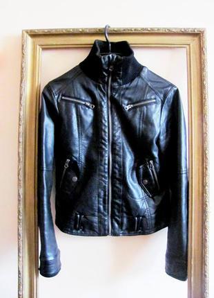Чёрная эко-кожаная куртка, кожанка inscene