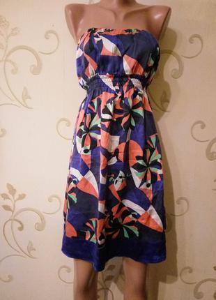 Красивое, очень приятелем к телу летнее шелковое платье. англия. размер 10