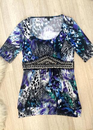 Турецкая блузка с цепочками и камнями piena