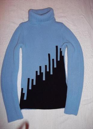 Спешите!!! акция 1+1=3!!!! фактурный голубой свитер гольф реглан