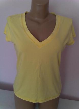 Качественная футболка лимонного цвета 95% хлопок+5%эластан