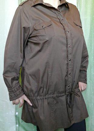 Красивая ветровка, рубашка, 100% хлопок, на кнопках, большой (24/56-60) размер и рост