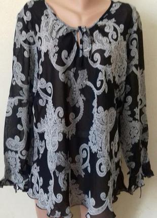 Шифоновая блуза с принтом большого размера