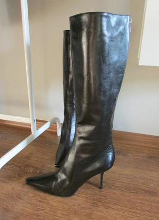 Кожаные сапоги knee high  leather boots  jimmy choo