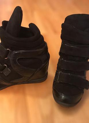 Сникерсы, кроссовки на платформе чёрные замешенные с кожей isabel marant