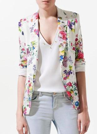 Пиджак жакет цветочный принт