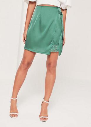 Сатиновая юбка с кружевом