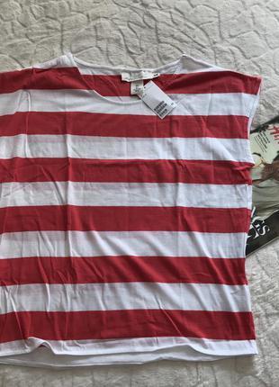 Новая красно белая футболка в полоску h&m