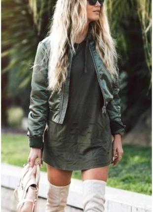 Крутая кожаная куртка-бомбер кожзам в стиле zara от miss e-vie, зеленая,хаки