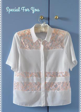 Белоснежная блуза с кружевными вставками на xs-s