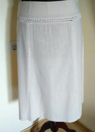 Коттоново-льняная юбка тончайшей выделки с вывязаным рубчиком