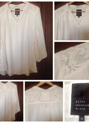 Белая айвори light ivory блуза с кружевом betty jackson black xxl/16/44-xxxl/18/46