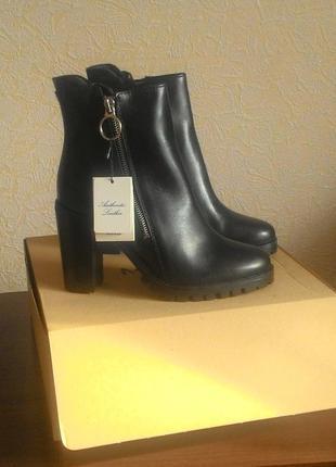 Новые кожаные ботинки ботильоны mango