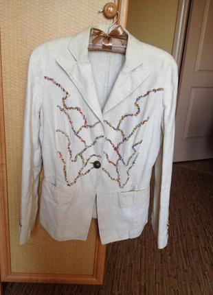 Льняной пиджак stefanel