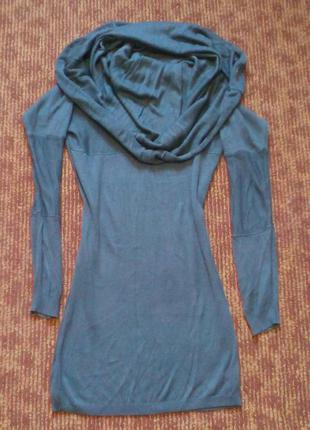 Платье- туника с богатым воротником темно оливкового цвета bay h&m