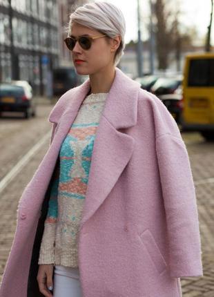 Обалденное пудровое пальто-кокон  atmosphere размер uk12 (m/l) бойфренд