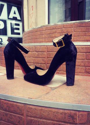 Женские туфли/туфли каблук/высокий каблук/средний каблук/бархатные туфли/красная подошва
