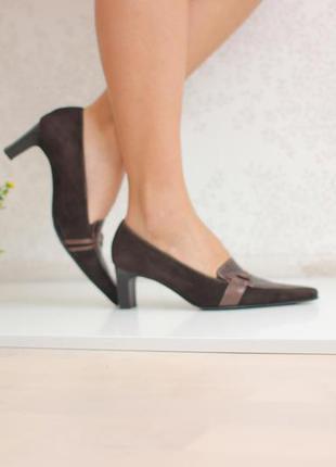 Замшевые туфли,вставка из натуральной кожи под крокодила, бренд paul green