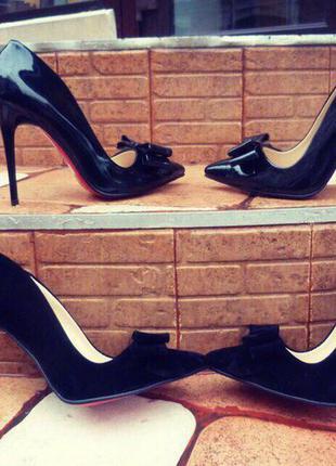 Женские туфли/туфли лодочки/высокий каблук/средний каблук/черные туфли/красная подошва