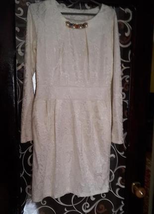 Гепюрове молочне плаття