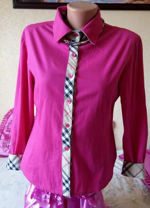 Рубашка burberry   ярко розовая