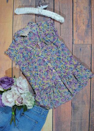 Скидка 30% на все вещи! шифоновая блузка river island размер uk10 (s/m) топ в цветы