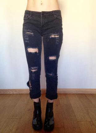 Прямые рваные джинсы с шикарными дырками lacy straight